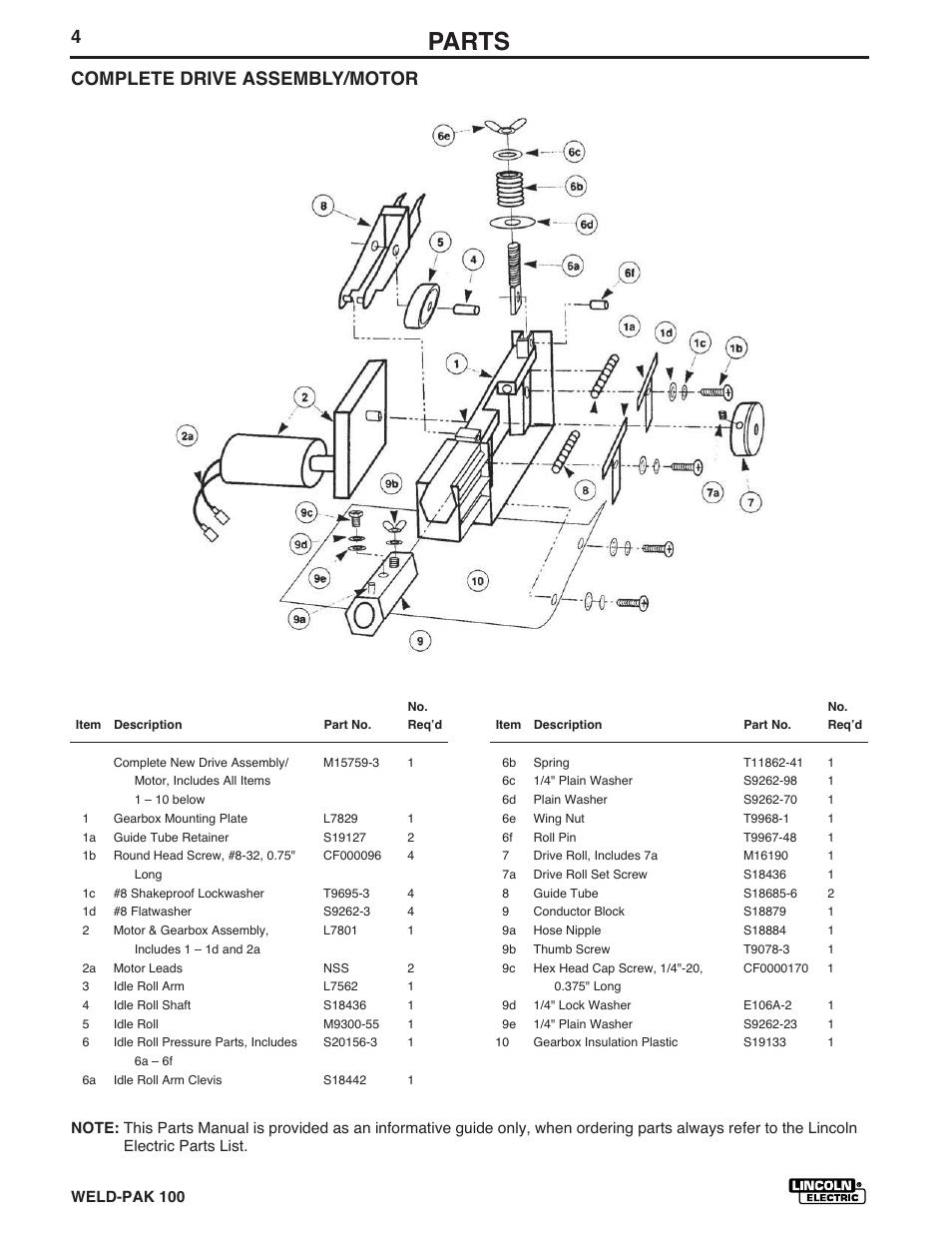 Parts, Complete drive assembly/motor | Lincoln Electric IM546 WELD-PAK 100  PLUS User Manual | Page 50 / 60