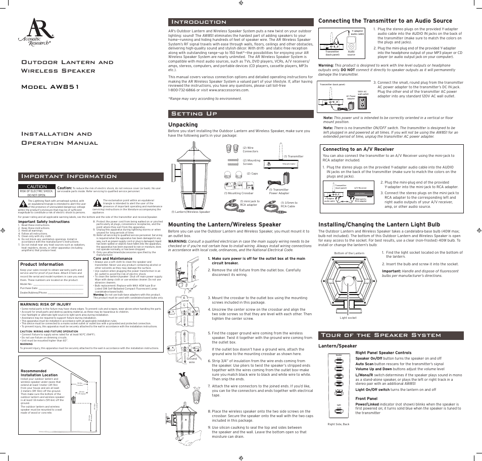 Acoustic Research Aw851 User Manual 2 Pages Jack Wiring