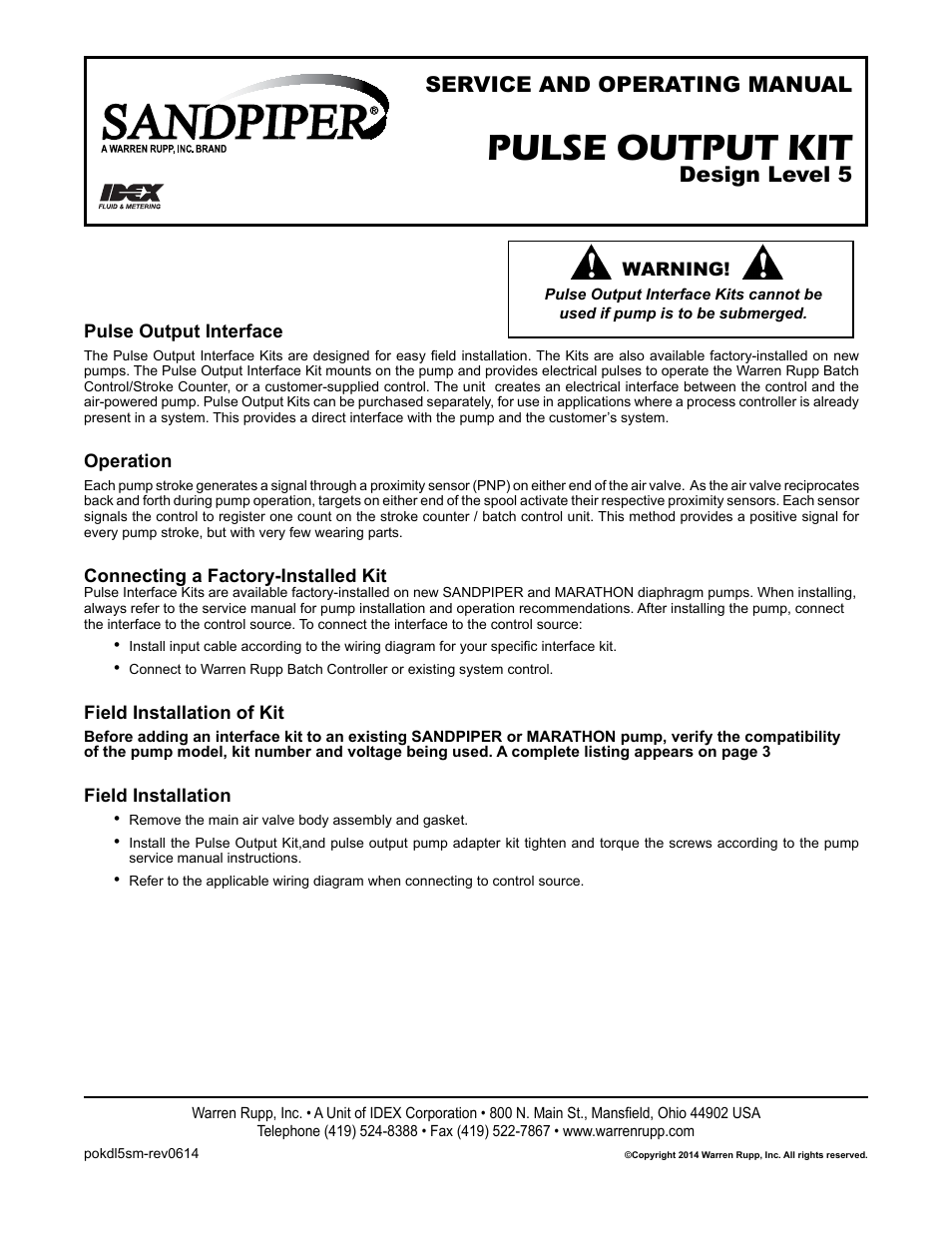 Sandpiper Pulse Output Kit User Manual 18 Pages Wiring Diagram Batch Controler