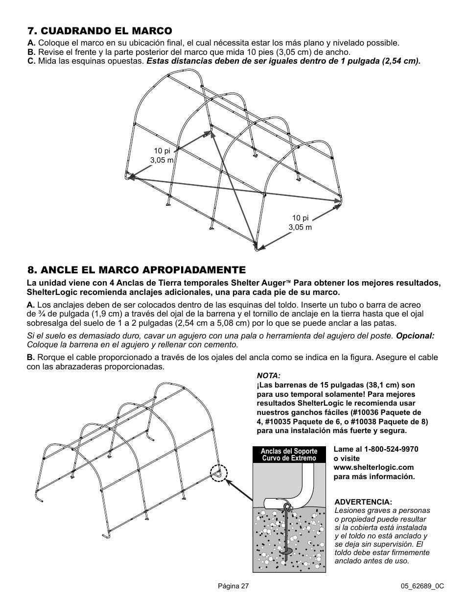 Cuadrando el marco, Ancle el marco apropiadamente | ShelterLogic ...