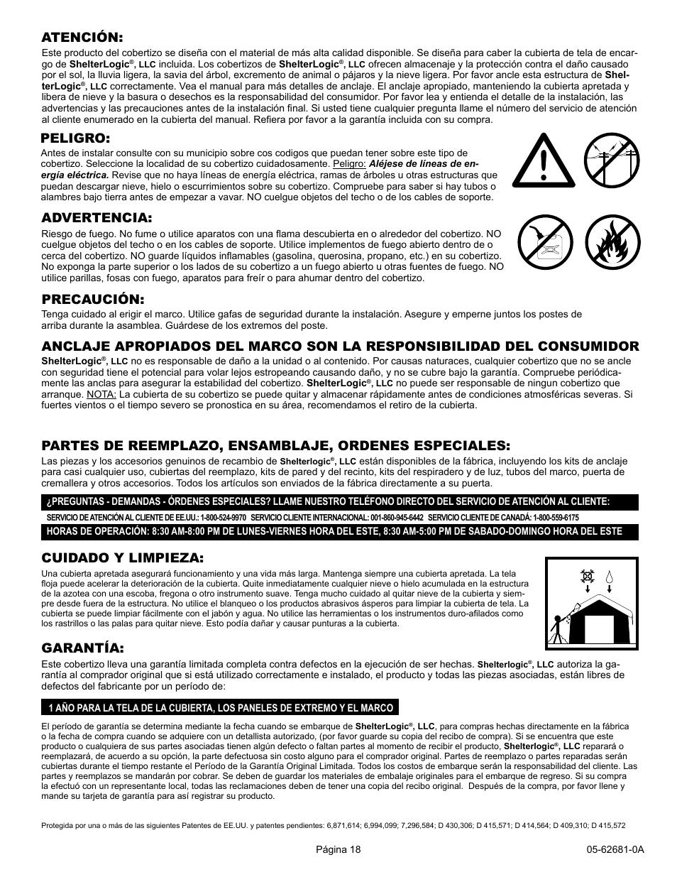 Cuidado y limpieza, Atención, Peligro   ShelterLogic 62681 10 x 15 x ...