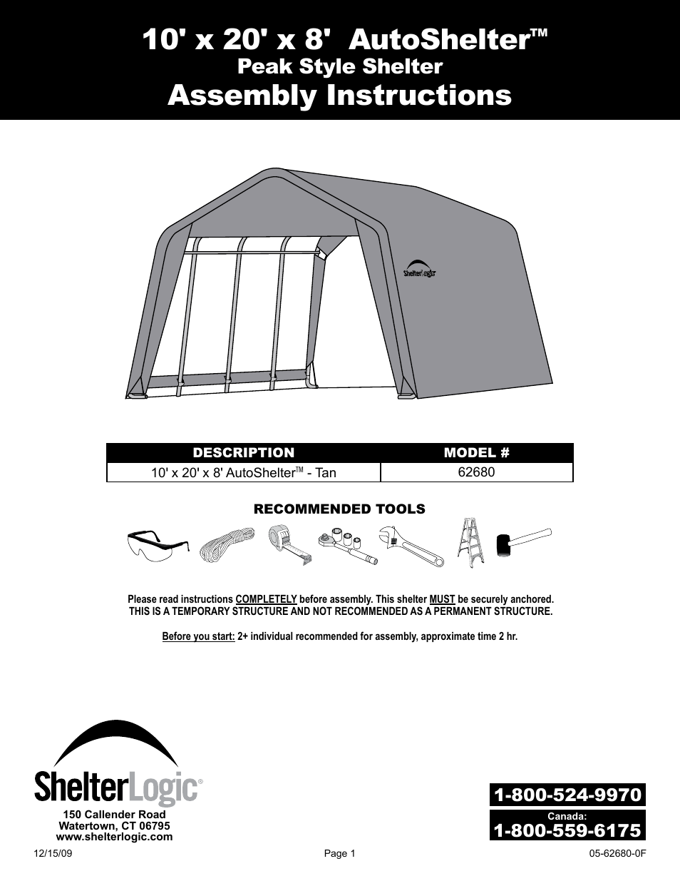 shelterlogic 62680 10 x 20 x 8 autoshelter user manual 24 pages rh manualsdir com Accuphase Assembly Manuals Manuals for Navepoint 15U Assembly