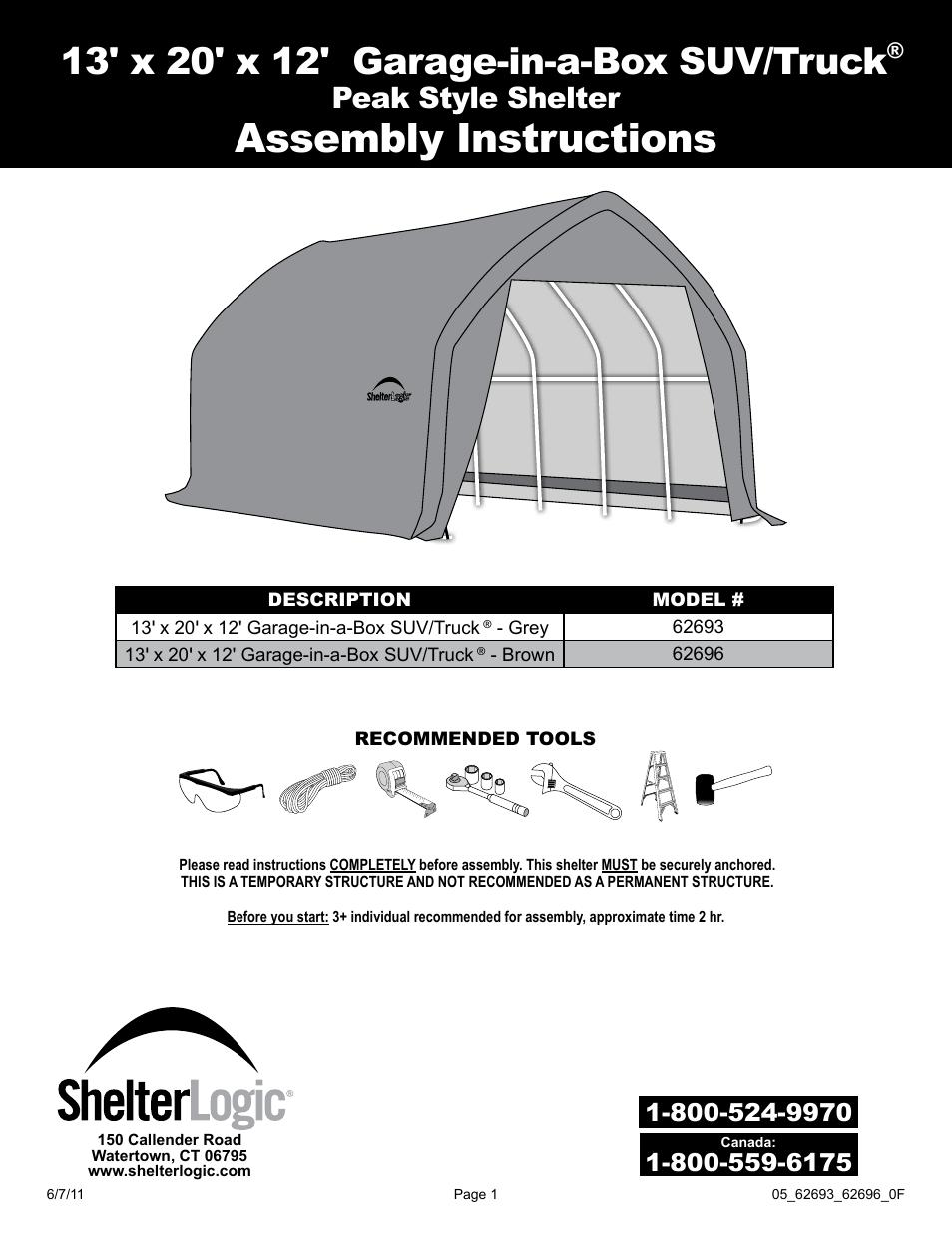 shelterlogic 62696 13 x 20 x 12 garage in a box suv truck user rh manualsdir com Homelite Pressure Washer Ut80953b Assembly Manuals L Gz358pst 1 Assembly Manual