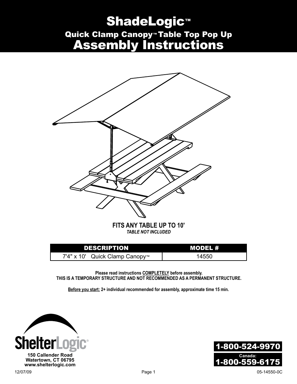 sc 1 st  manualsdir.com & ShelterLogic 14550 7 4 x 10 Quick Clamp Canopy User Manual | 12 pages