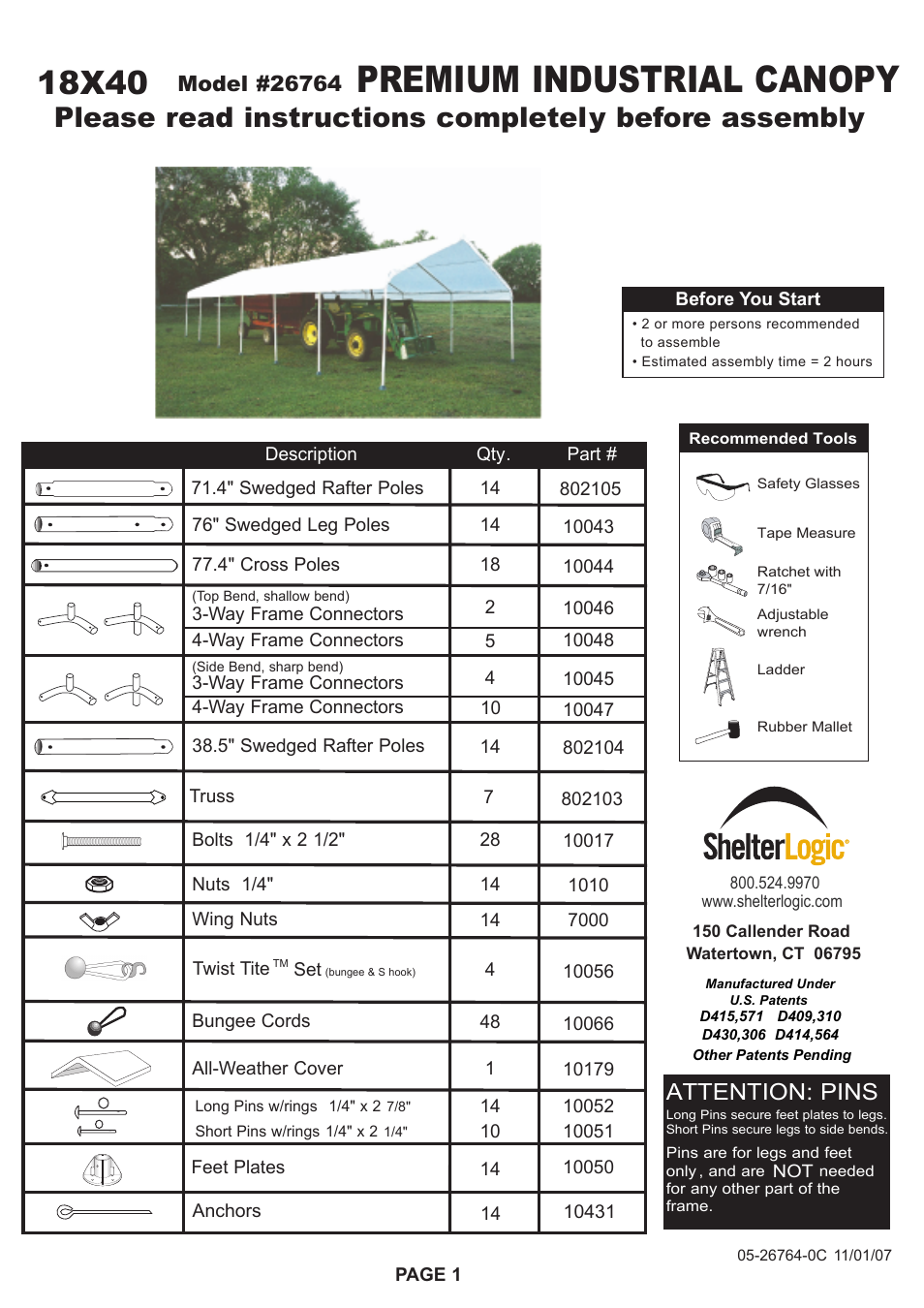 Shelterlogic 26764 18 x 40 super max canopy user manual for 18x40 frame