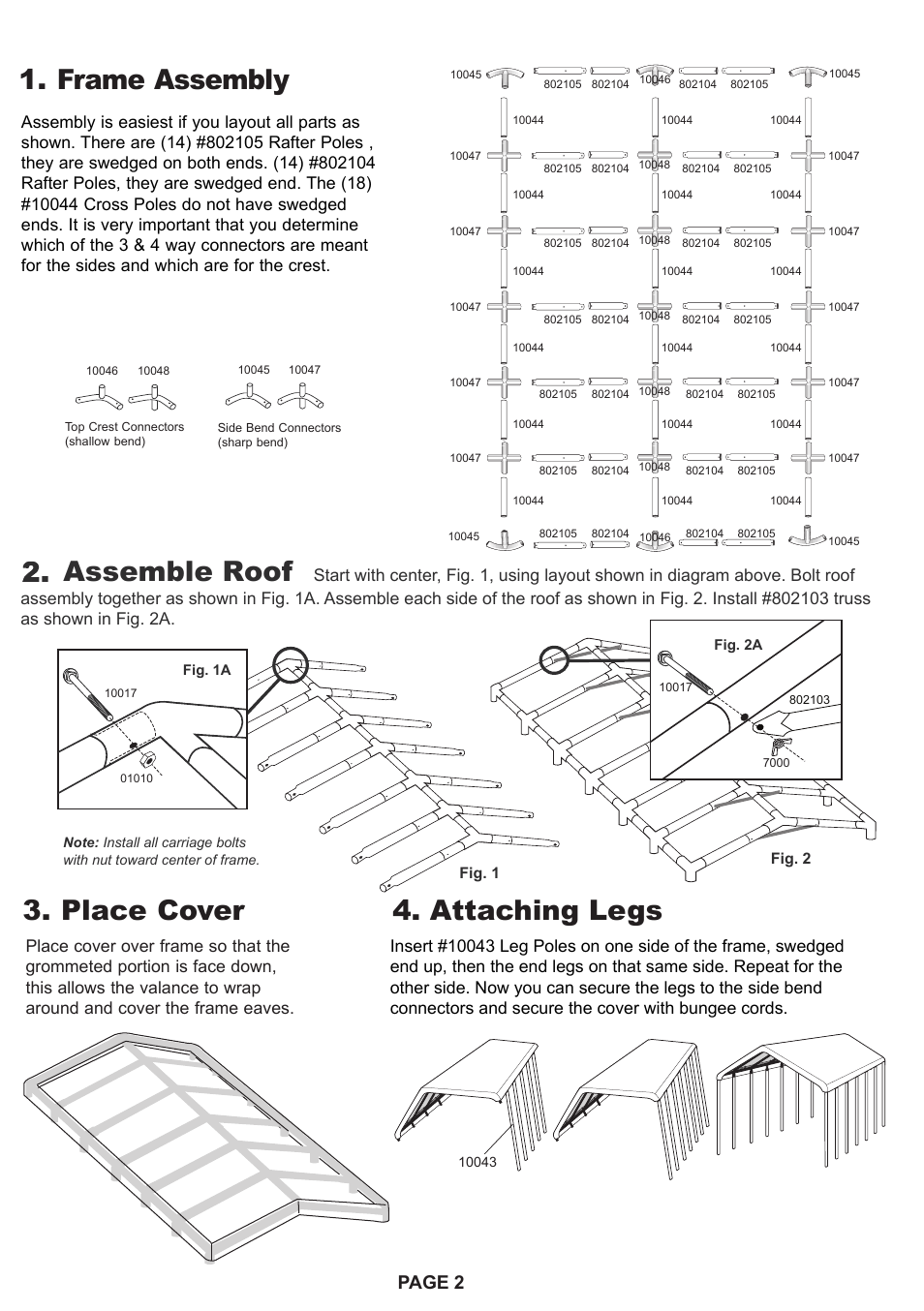 Frame assembly 4. attaching legs 3. place cover Assemble roof Page 2 | ShelterLogic 26764 18 x 40 Super Max Canopy User Manual | Page 2 / 4  sc 1 st  manualsdir.com & Frame assembly 4. attaching legs 3. place cover Assemble roof ...