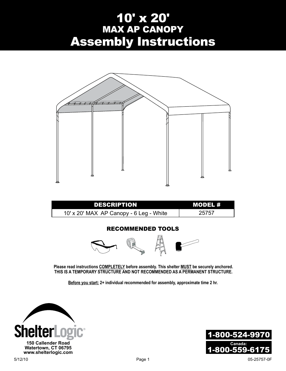 Shelterlogic 25757 10 X 20 Max Ap Canopy User Manual