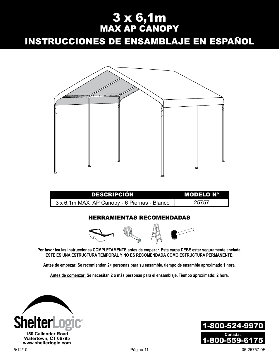 3 x 61m | ShelterLogic 25757 10 x 20 Max AP Canopy User Manual | Page 11 / 15  sc 1 st  manualsdir.com & 3 x 61m | ShelterLogic 25757 10 x 20 Max AP Canopy User Manual ...