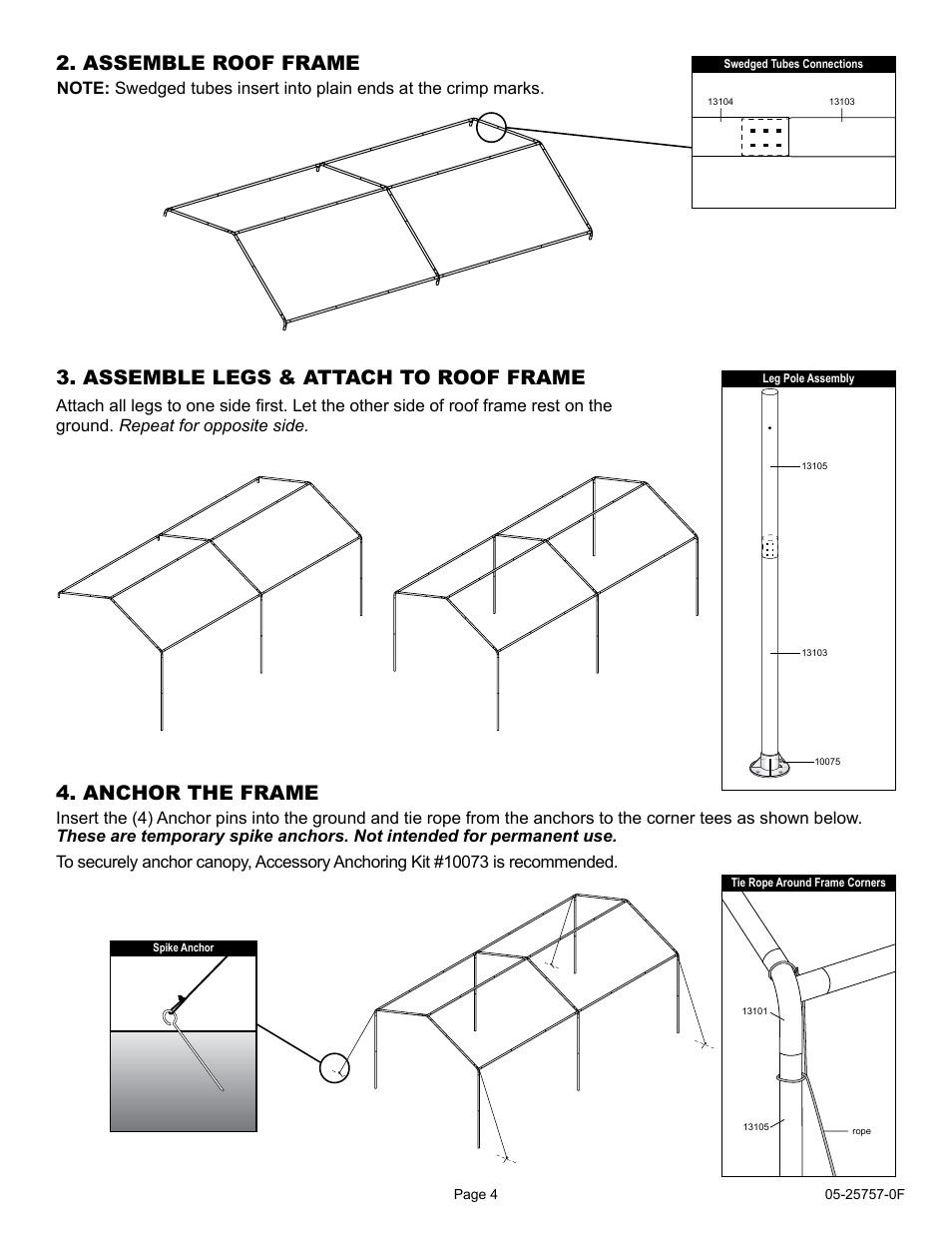 Assemble roof frame, Assemble legs & attach to roof frame ...