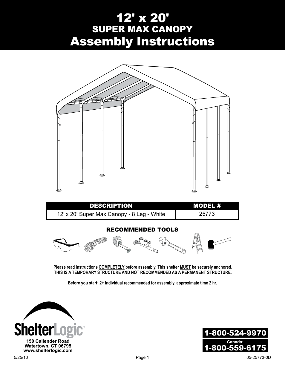 shelterlogic 25773 12 x 20 super max canopy user manual 18 pages rh manualsdir com L Gz358pst 1 Assembly Manual Homelite Pressure Washer Ut80953b Assembly Manuals