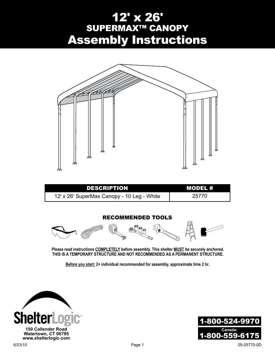shelterlogic 29770 12 x 26 super max canopy user manual 21 pages rh manualsdir com Assembly Instruction Manuals Manual Assembly Resume