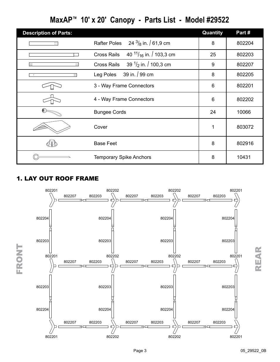 Fr ont re a r Maxap Lay out roof frame   ShelterLogic 29522 10 x 20 Max AP Canopy User Manual   Page 3 / 5  sc 1 st  manualsdir.com & Fr ont re a r Maxap Lay out roof frame   ShelterLogic 29522 10 x ...