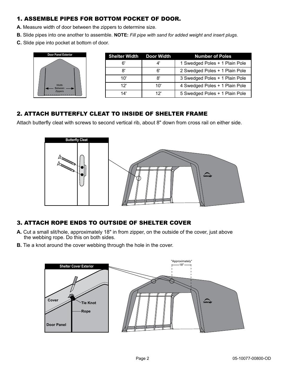 Shelterlogic 00800 Pull Eaze Roll Up Door Kit User Manual