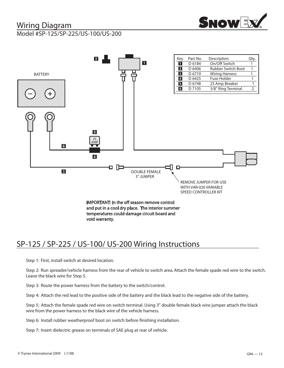 Snowex Wiring Diagram Worksheet And Salt Spreader Wire For Sp 225 Us 200 User Manual Page 13 27 Rh Manualsdir Com