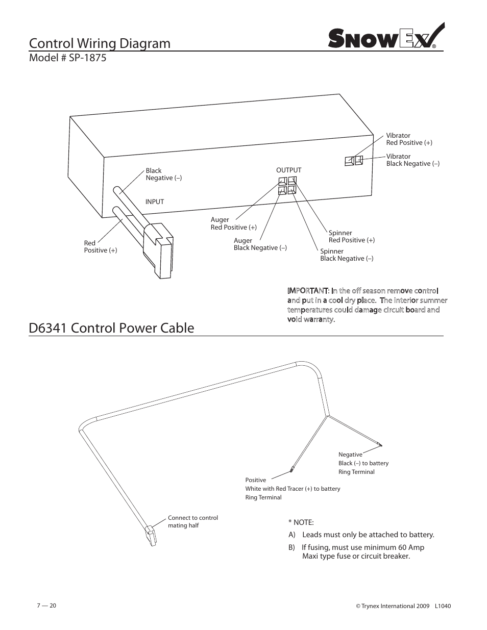 Control Wiring Diagram  D6341 Control Power Cable  Model   Sp