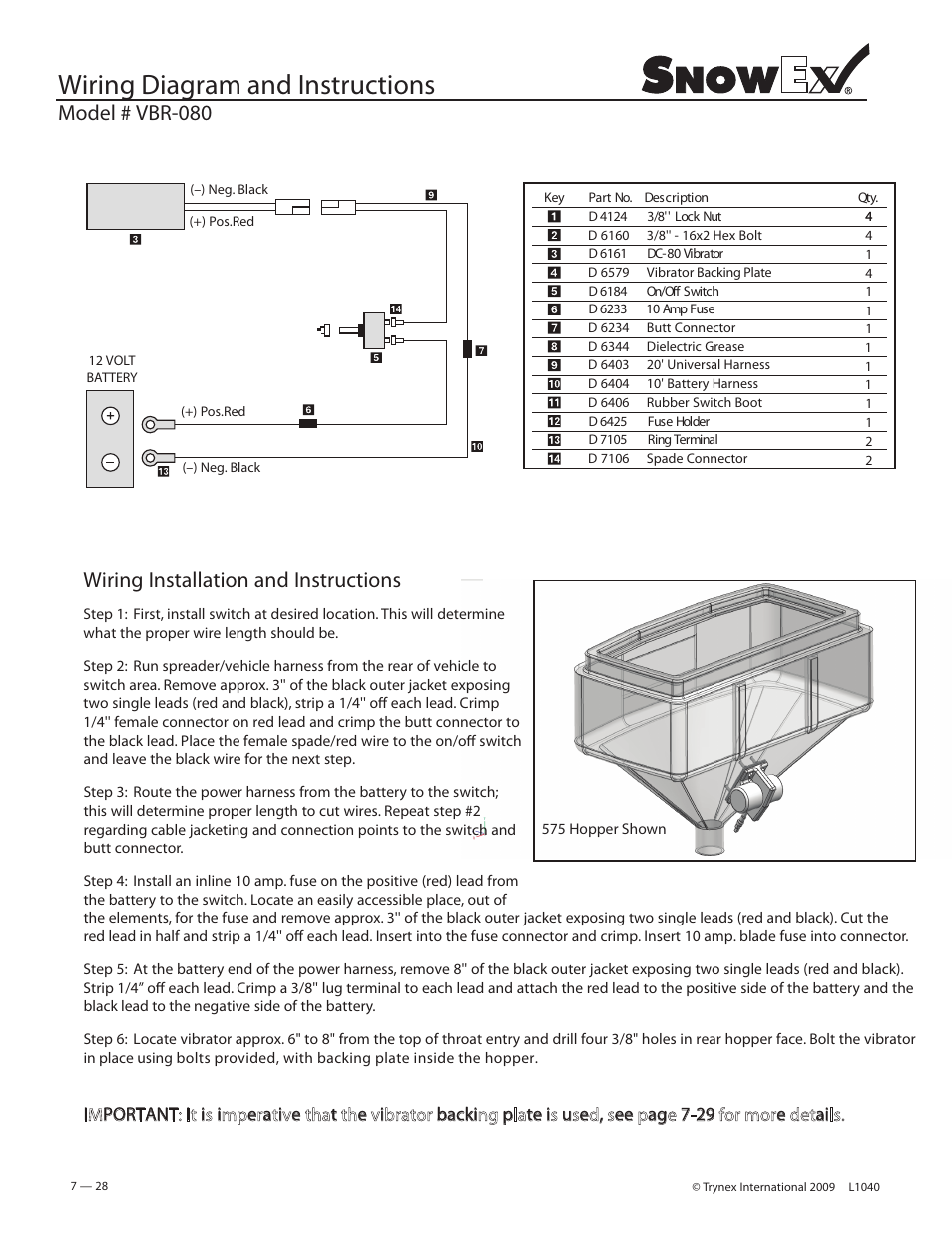 Wiring Diagram And Instructions  Model   Vbr