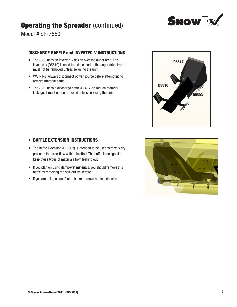 Operating The Spreader Continued Model Sp 7550 Snowex Salt Wiring Diagram User Manual Page 9 36