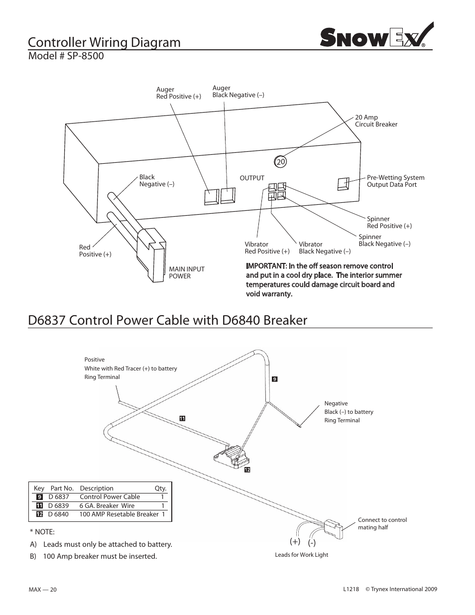 Controller Wiring Diagram Model Sp 8500 Snowex User 20 Amp Manual Page 18 34
