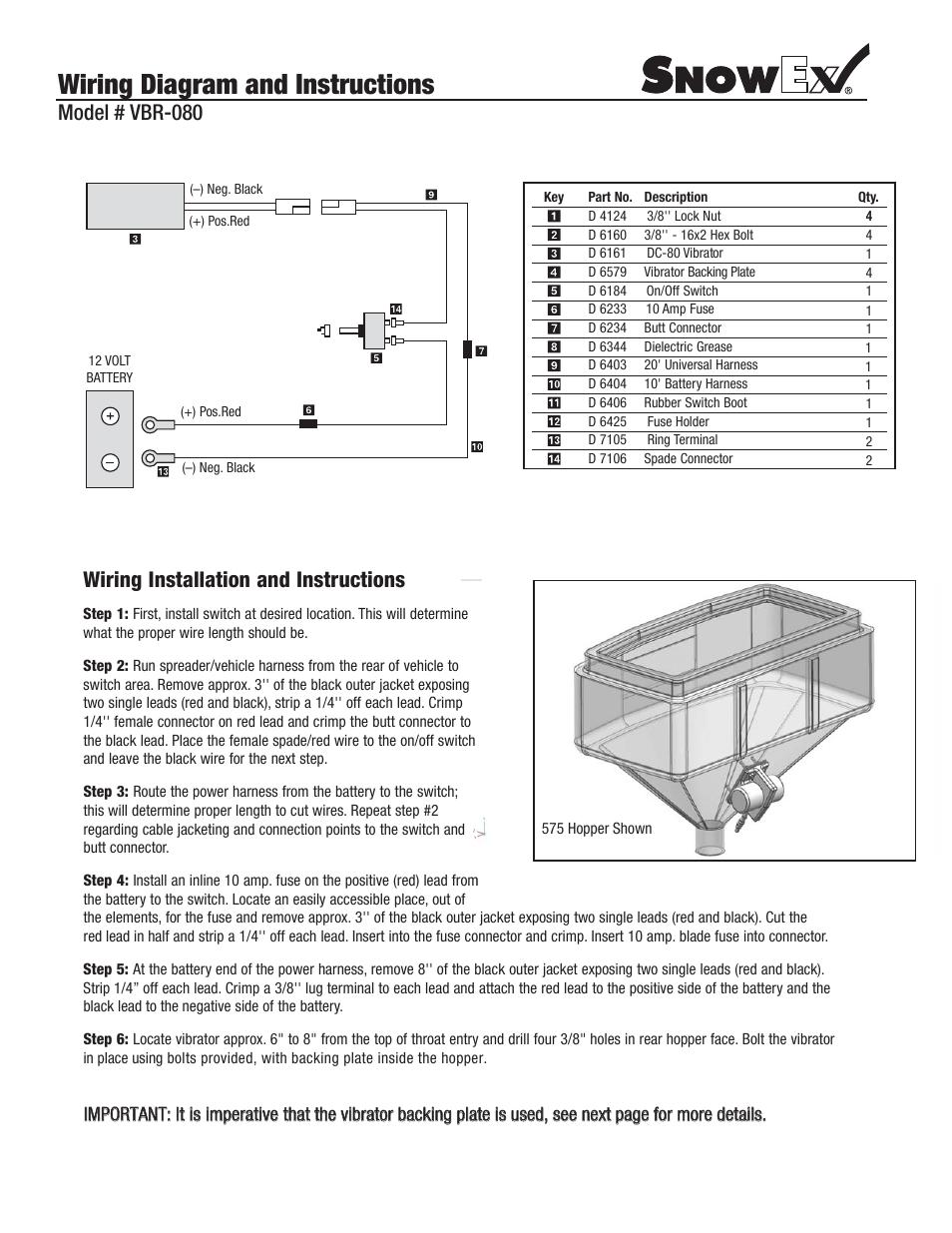 Snowex Vbr 080 User Manual 2 Pages SnowEx 575 Motor Snowex 575 Wiring  Diagram