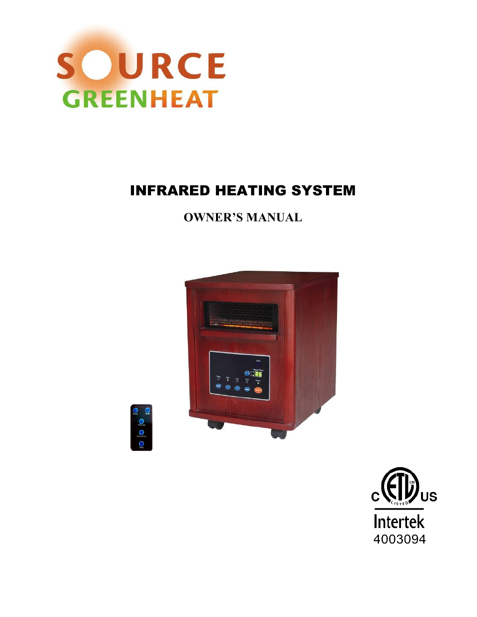 Source Green Heat Sgh 1500 User Manual 19 Pages