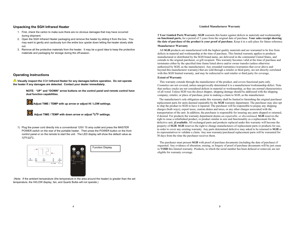 Source Green Heat Sgh‐1000 User Manual Page 4 6