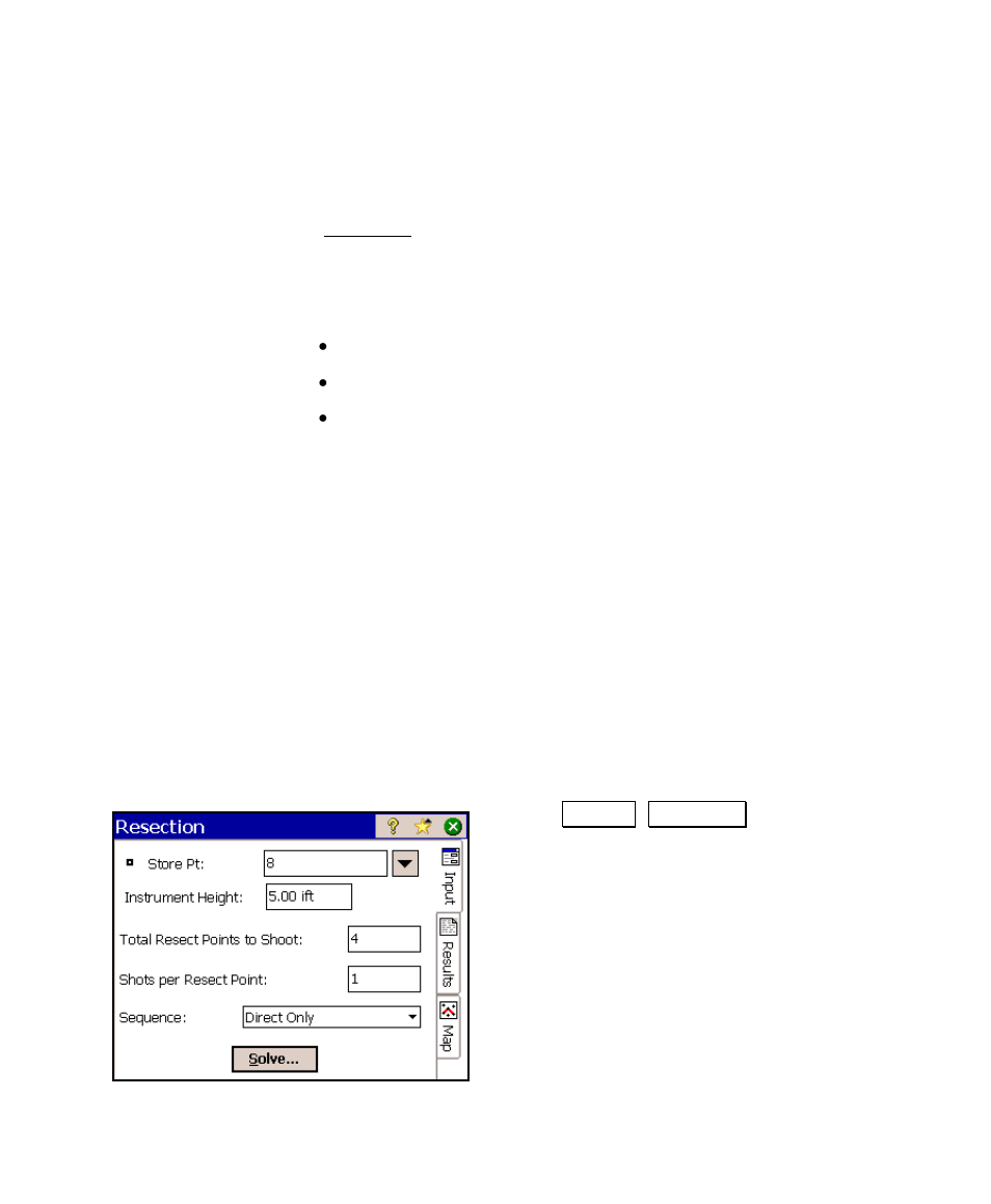 Resection, Performing a resection | Spectra Precision Survey Pro v4.6 Ranger  User Manual User Manual | Page 147 / 337