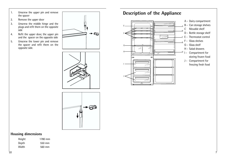 Description Of The Appliance Housing Dimensions Aeg