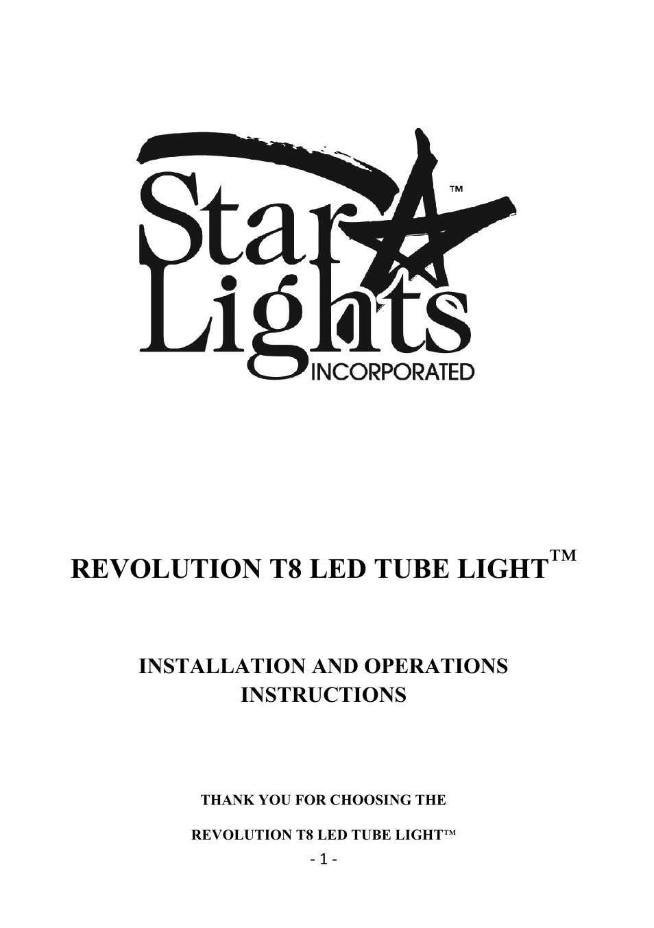 Star lights revolution t8 18 user manual 5 pages publicscrutiny Choice Image