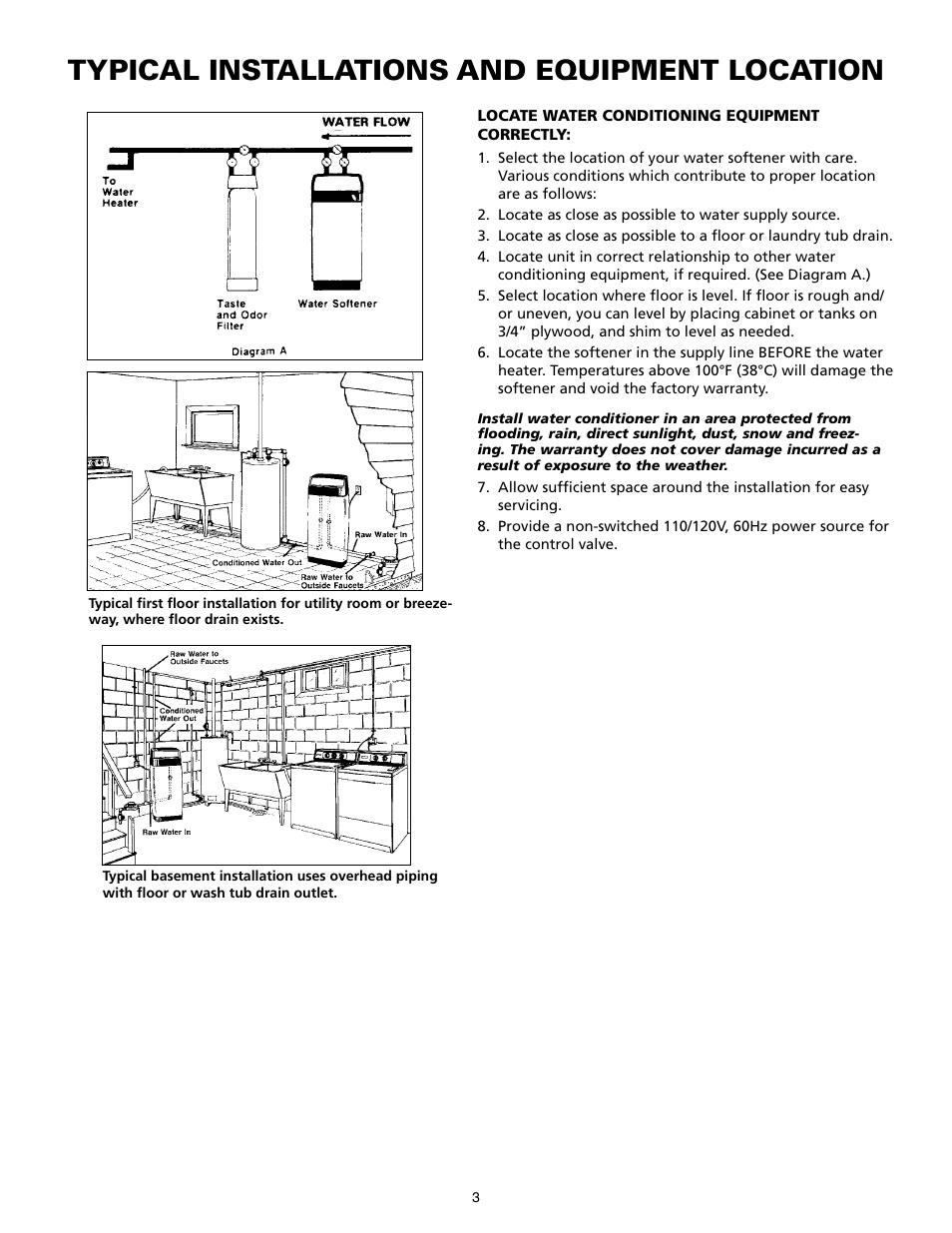 Typical installations and equipment location | Star Water Systems Water  Softener User Manual | Page 3 / 38