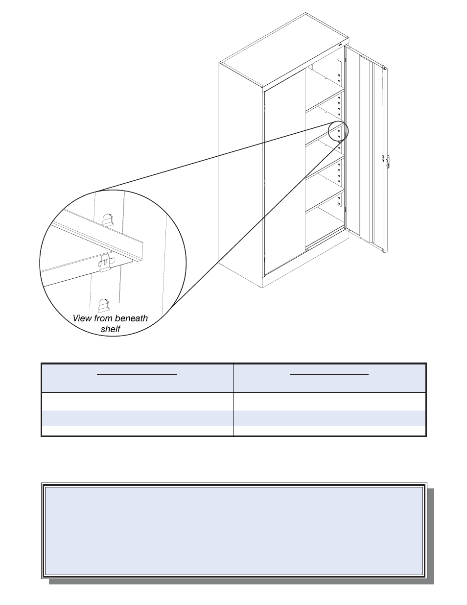 Replacement parts, Shelf adjustment, View from beneath shelf