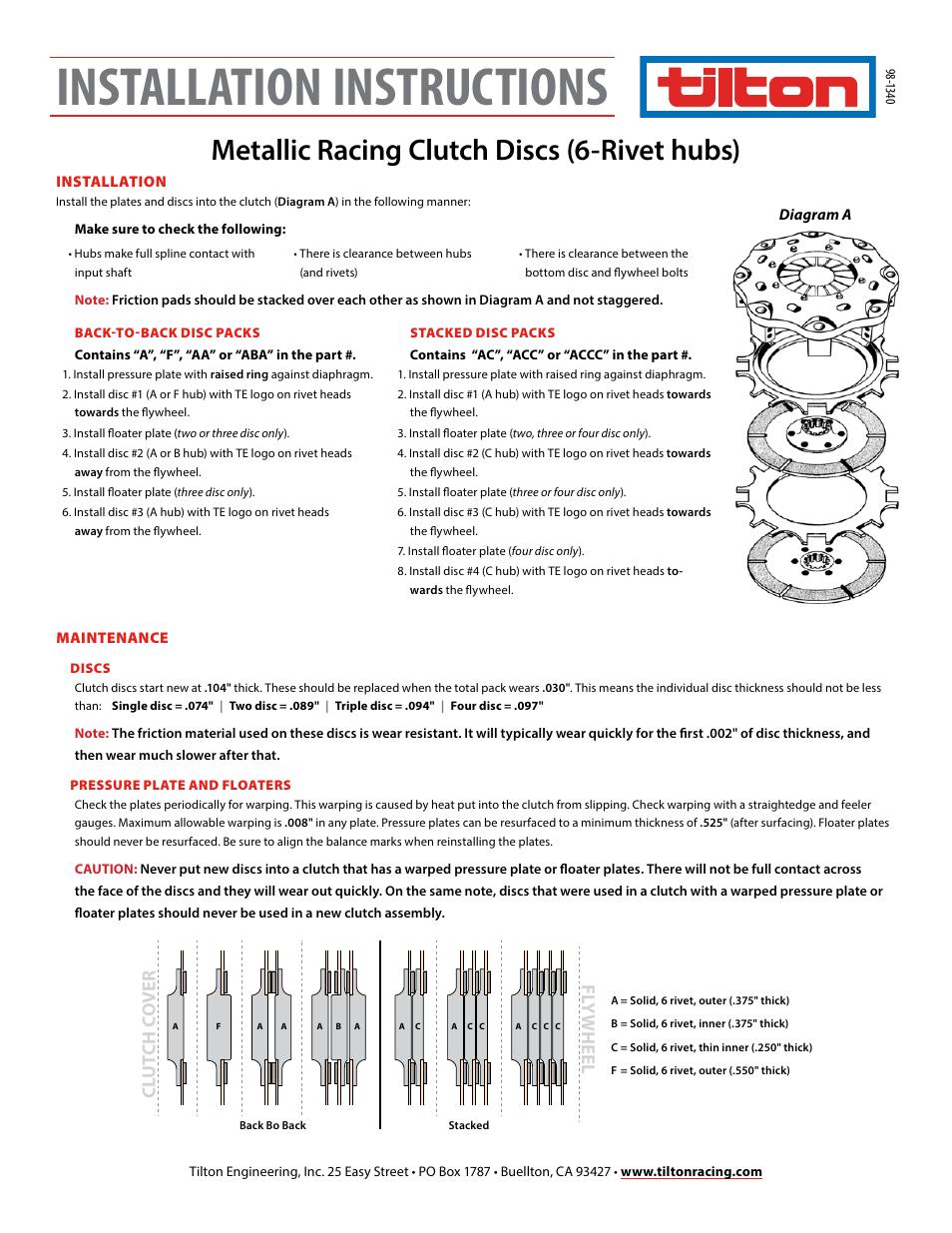 Tilton 6 Rivet Metallic Discs 98 1340 User Manual 1 Page Back Disc Diagram