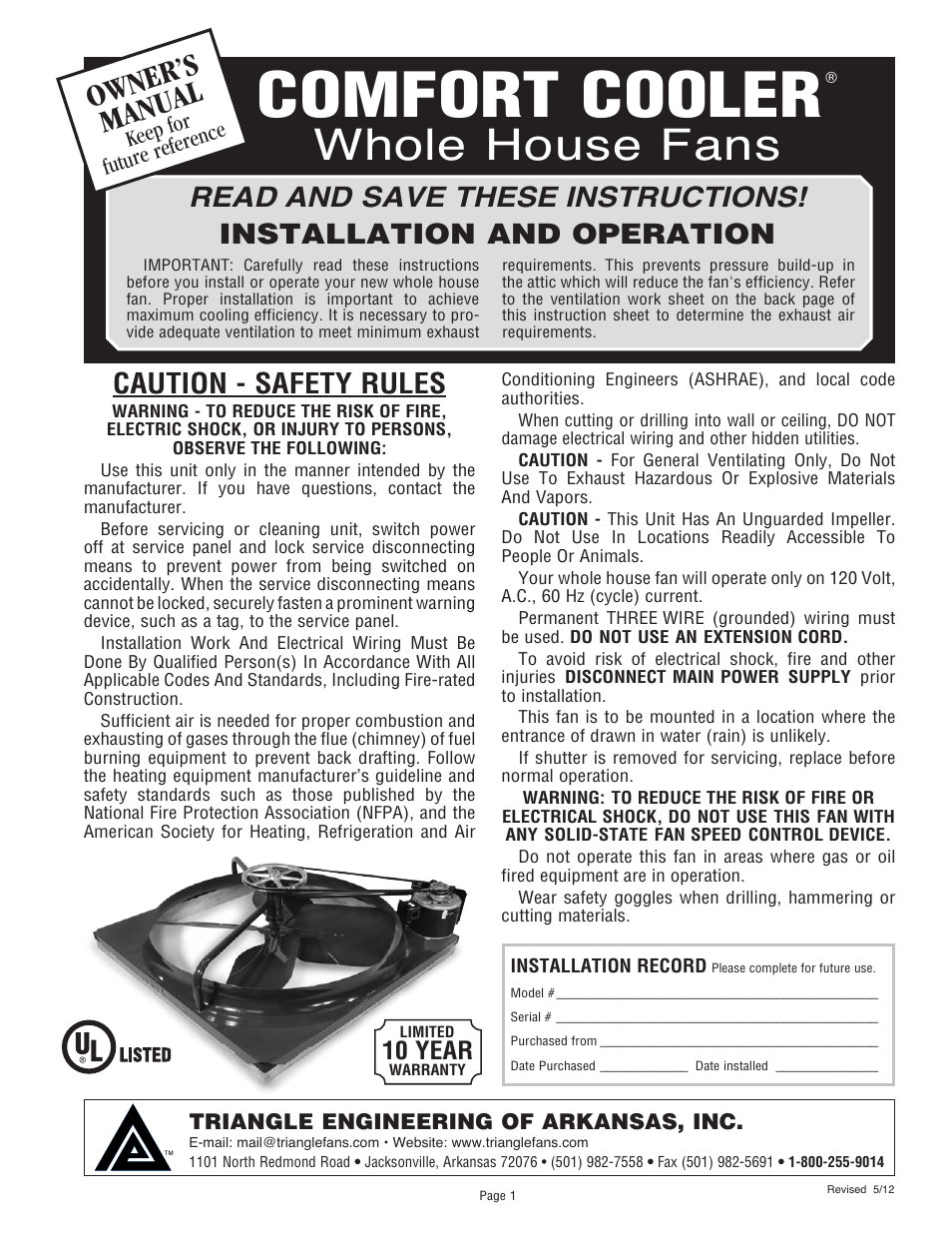 Triangle Engineering Of Arkansas Comfort Cooler User Manual
