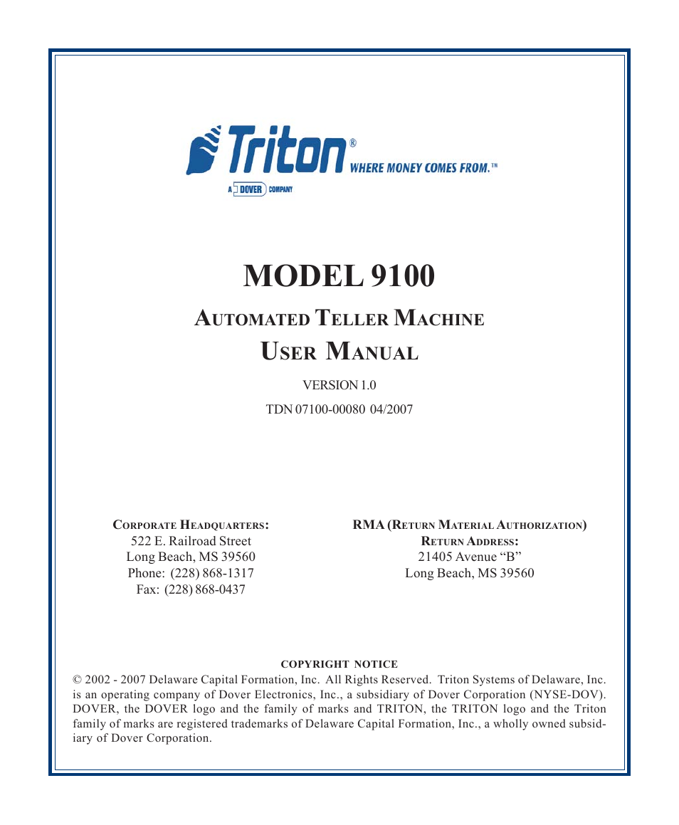 Triton 9100 user manual user manual 172 pages publicscrutiny Image collections