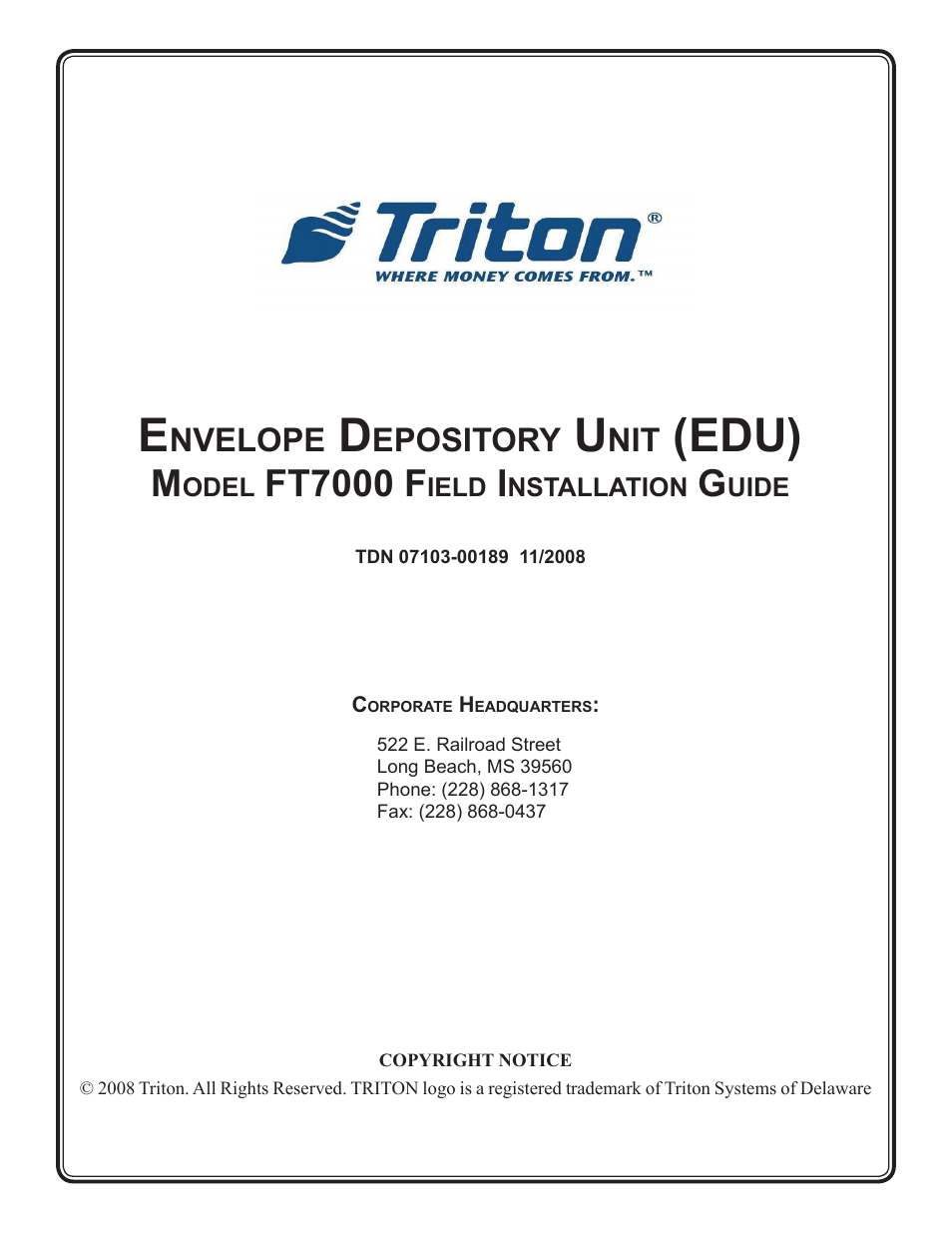 Triton ft7000 edu installation manual user manual 14 pages publicscrutiny Image collections