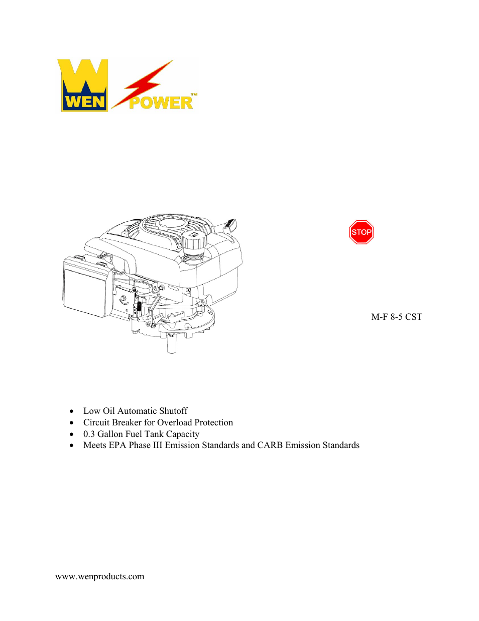 wen 56173 173 cc 6 hp ohv vertical shaft gas engine carb user manual 18 HP Gas Engine