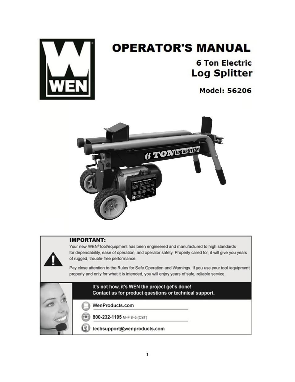 wen 56206 6 ton electric log splitter user manual 21 pages rh manualsdir com Build Your Own Log Splitter Log Splitter Wedge