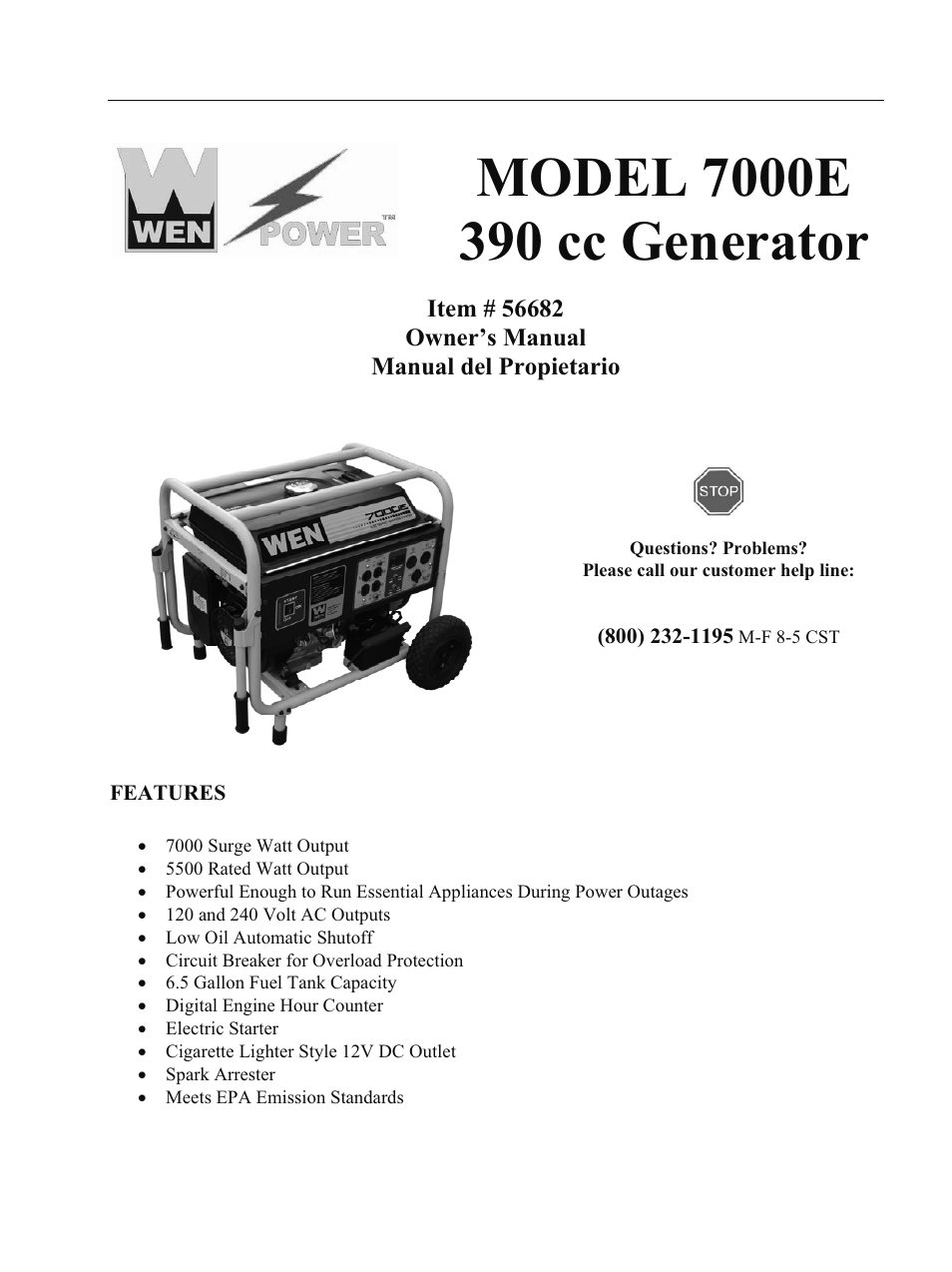 Wen 56682 7000 Watt Electric Start User Manual