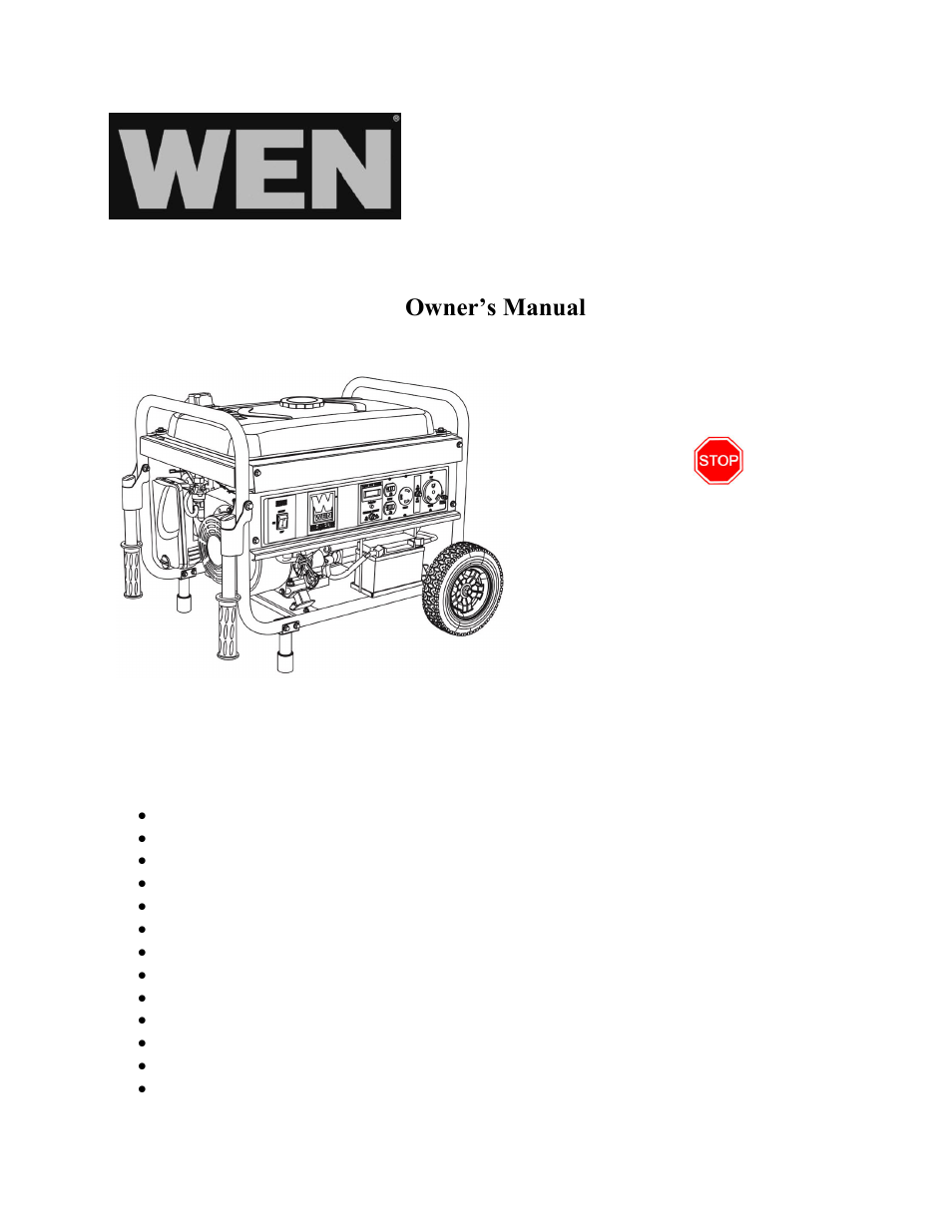 wen 56475 4750w electric start user manual