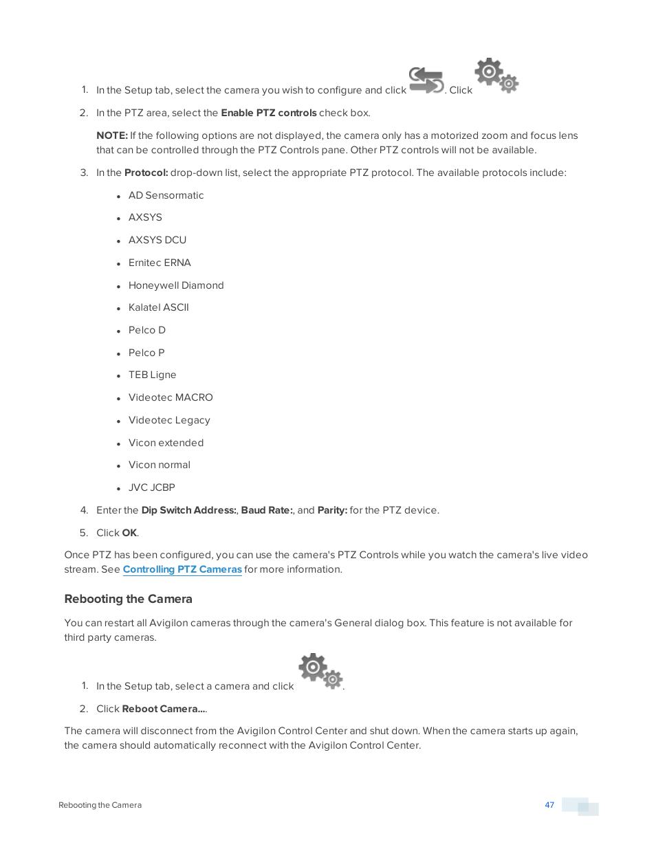 Rebooting the camera | Avigilon ACC Core Version 5 2 2 User