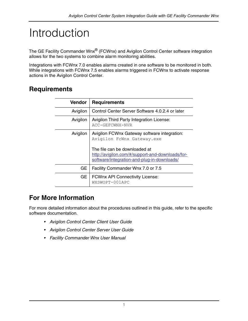 introduction requirements for more information avigilon ge rh manualsdir com Facility Commander Winx facility commander wnx 7.6 user manual