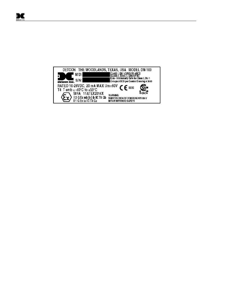Installation, Figure 10 approval label | Detcon DM-100 User