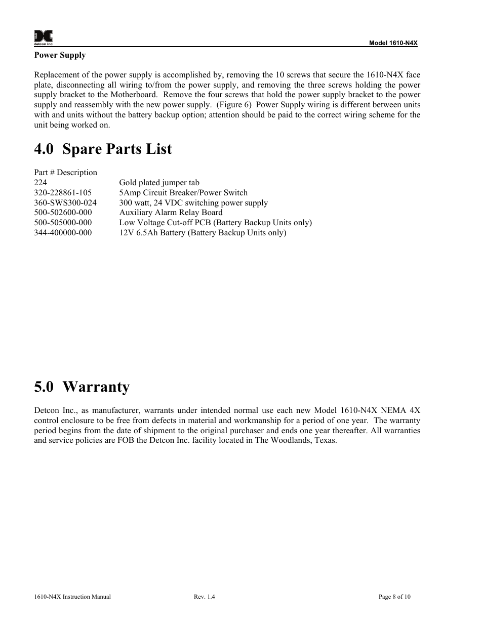 0 Spare Parts List Warranty Detcon 1610 N4x 12v Battery Backup Circuit User Manual Page 12 28