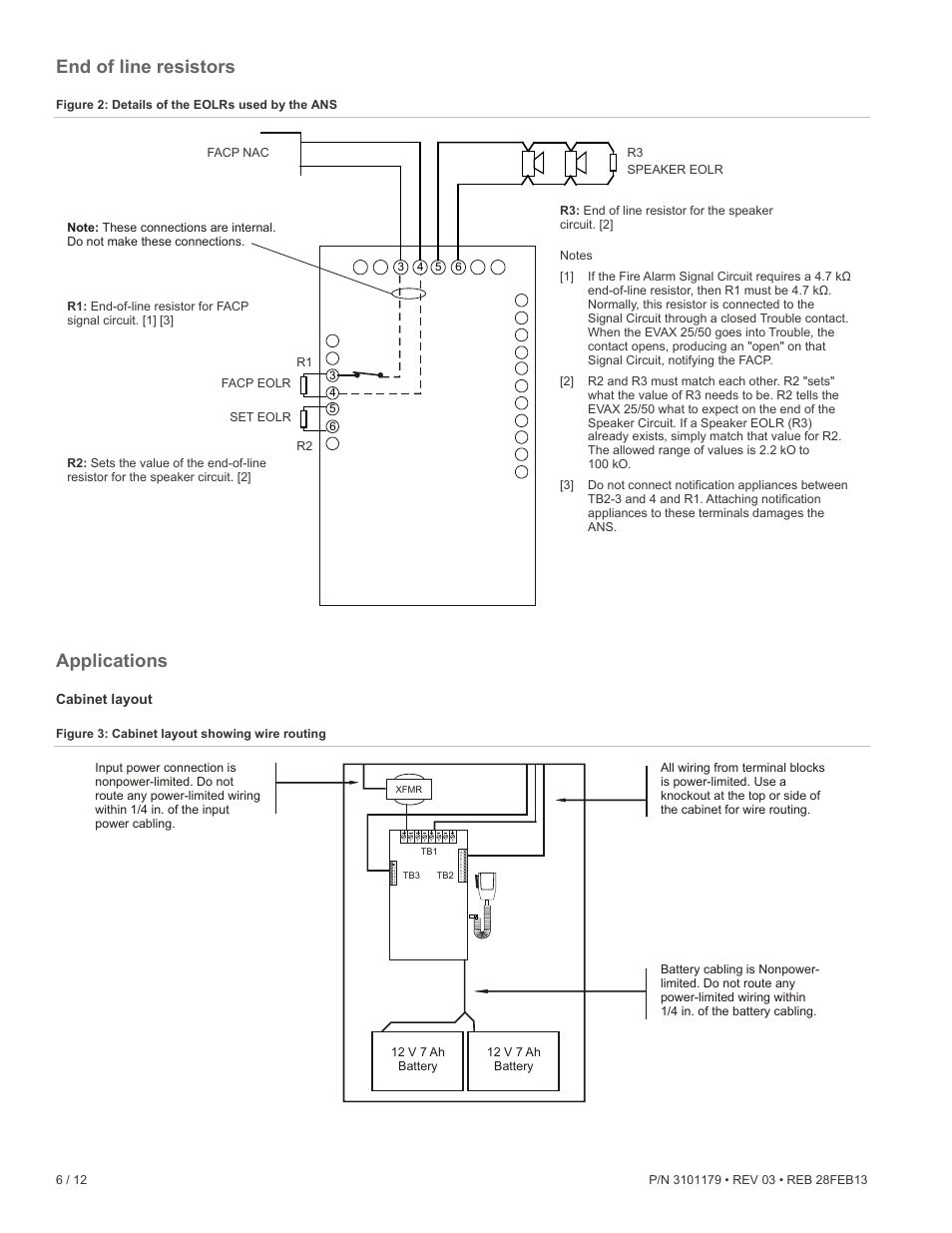 End of line resistors, Applications, Cabinet layout | Edwards Signaling ANS  Audio Notification System User Manual | Page 6 / 12