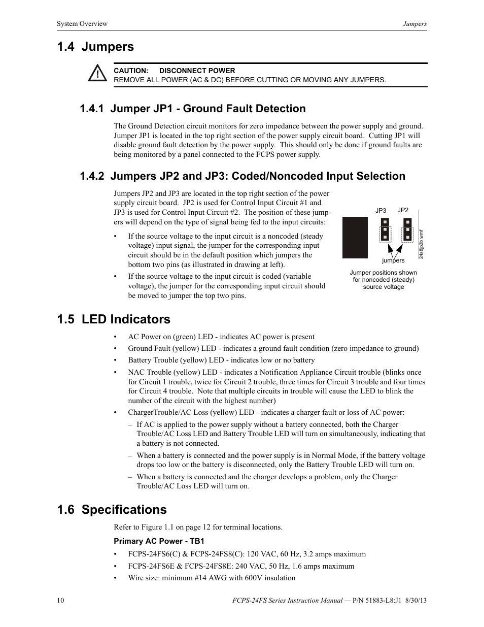 4 Jumpers 1 Jumper Jp1 Ground Fault Detection 5 Led Indicators Cut Phone Line Detector Circuit Fire Lite Fcps Series Field Charger Power Supply User Manual Page 10 48