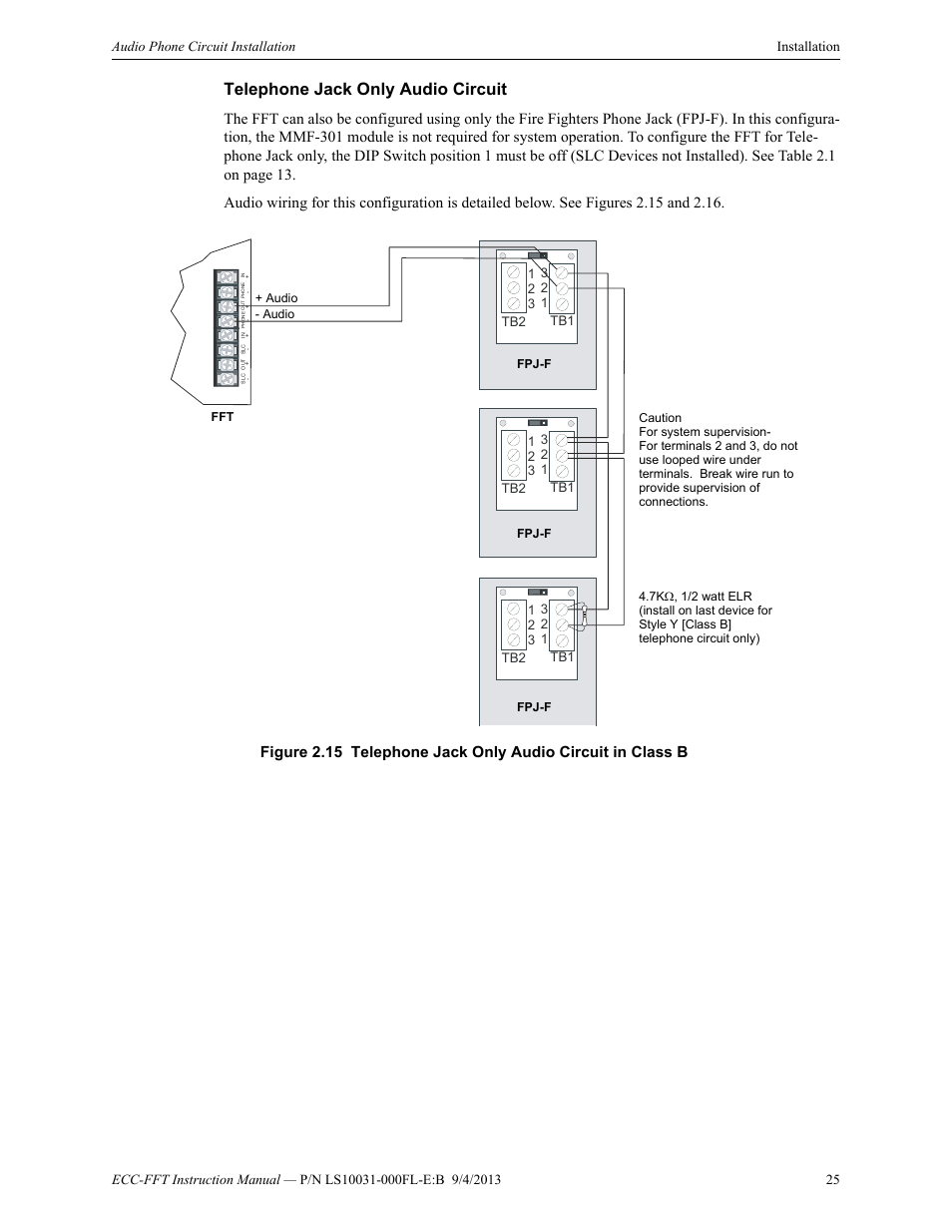 Telephone Jack Only Audio Circuit Fire Lite Ecc Fft Firefighters Circuits User Manual Page 25 32