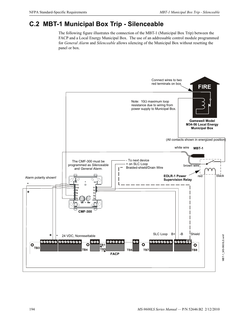 C2 Mbt 1 Municipal Box Trip Silenceable Gamewell Fire Alarm Wiring Diagram Lite Ms 9600lsc Addressable Control Panel User Manual Page 194 208