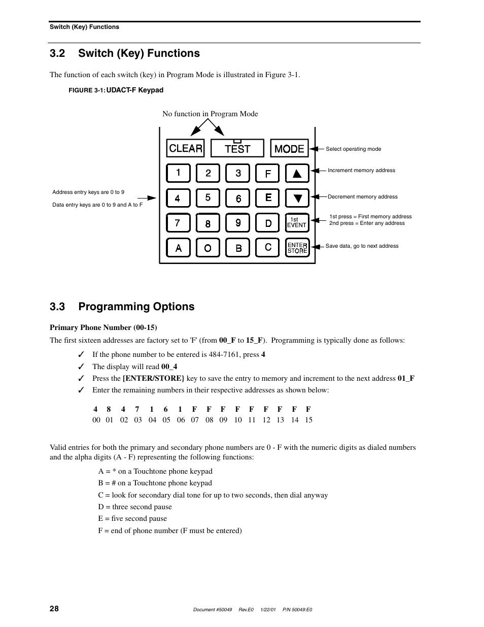 2 switch (key) functions, 3 programming options | Fire-Lite UDACT-F  Universal Digital Alarm Communicator Transmitter User Manual | Page 28 / 68