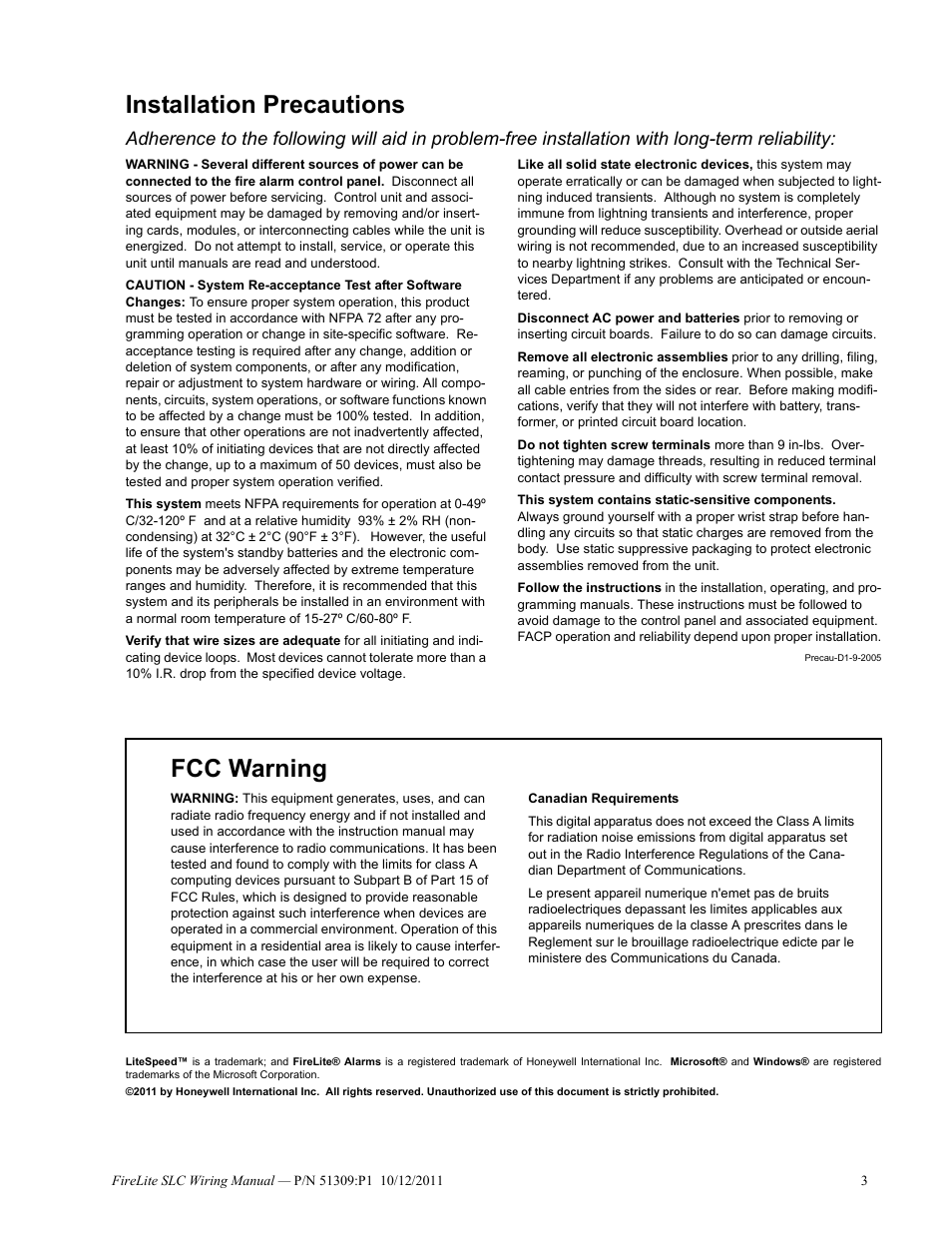 Installation Precautions  Fcc Warning