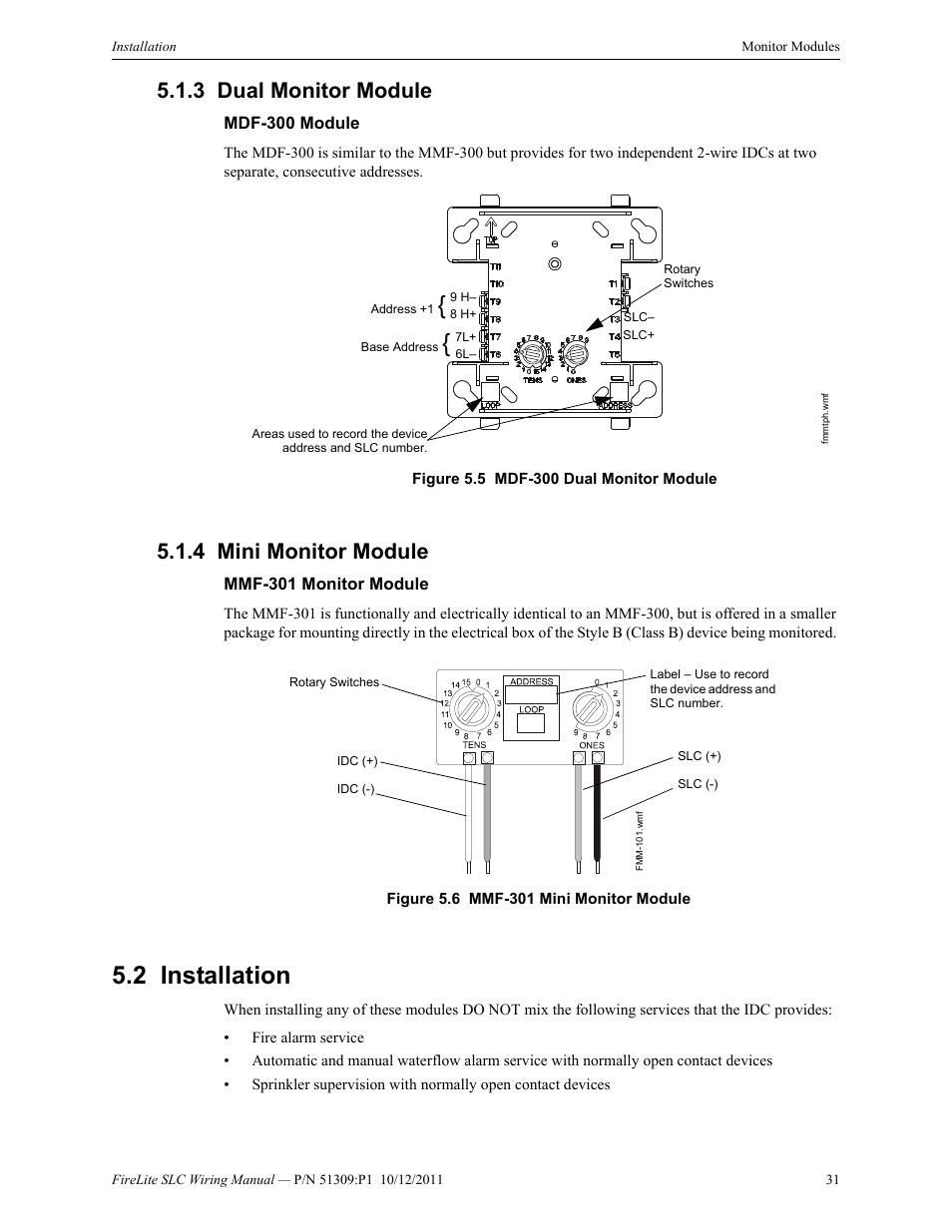 3 dual monitor module, Mdf-300 module, 4 mini monitor module | Fire-Lite  SLC Intelligent Control Panel Wiring Manual User Manual | Page 31 / 80