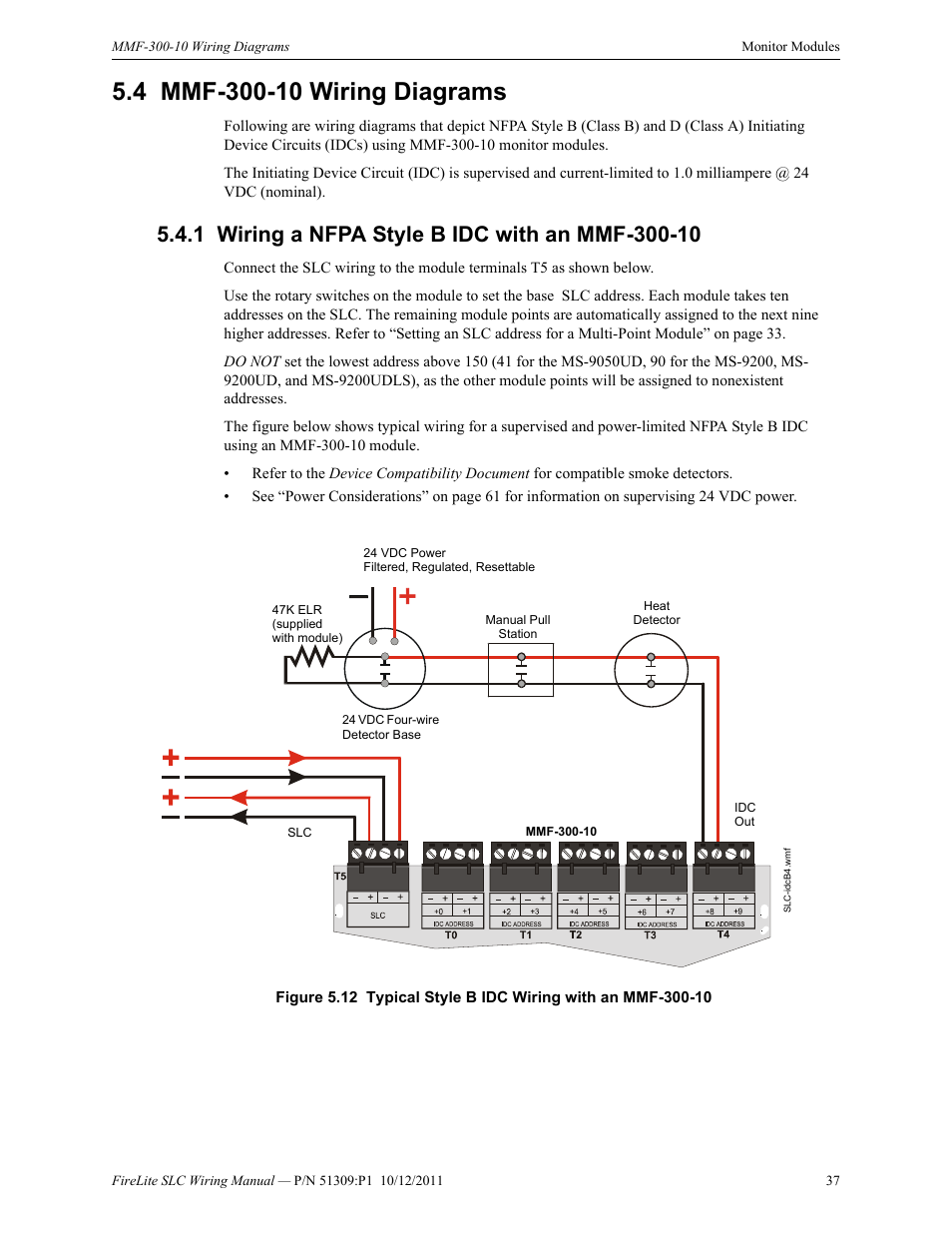 fire lite slc intelligent control panel wiring manual page37 4 mmf 300 10 wiring diagrams, 1 wiring a nfpa style b idc with an Fire Lite by Honeywell at n-0.co